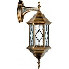 """Уличный настенный светильник """"Витраж"""" с ромбом на стекле Feron PL122 Черное Золото"""