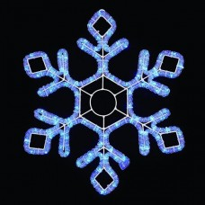 Световая мерцающая фигура СНЕЖИНКА синяя Flesi LED-XM(FR)-2D-CK022-30-B-F(W) 79х69см с белыми Flash LED