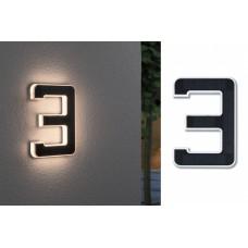 Уличный настенный светильник Paulmann Номер 3 LED 0.2Вт 3000К IP44 Пластик Солнечная батарея 79844