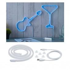 Лента светодиодная Paulmann Neon Colorflex 1м 4.5Вт 10лм 5В Синий/Белый Пластик USB 70564