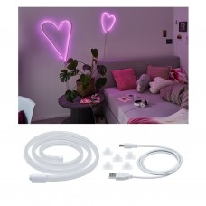 Лента светодиодная Paulmann Neon Colorflex 1м 4.5Вт 10лм 5В Розовый/Белый Пластик USB 70561