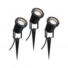 Уличный светодиодный светильник Paulmann 3х3.5Вт 230лм 3000К GU10 IP65 230В Черный Алюминий 98897