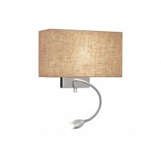 Светильник настенный Ideal lux Hotel AP2 макс.60Вт+1Вт Е27/LED Канва/Хром Ткань/Металл Выкл. 103204