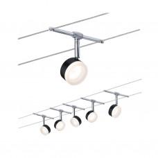 Светильник струнный Paulmann ClearLED 4Вт 150лм 2700К LED 230/12В Черный/Хром Набор 5 спотов 94457