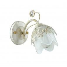 Бра Lumion 3002/1W белый/зол. патина/стекло/метал. декор/хрусталь E14 1*40W 220V FLORANA