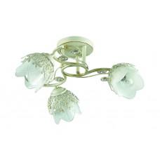 Потолочная люстра Lumion 3002/3C белый/зол. патина/метал. декор/хрусталь E14 3*40W 220V FLORANA