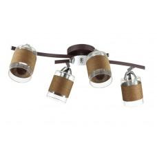 Потолочная люстра Lumion 3030/4CA хром/кофе/стекло/декор.тесьма E27 4*60W 220V FILLA