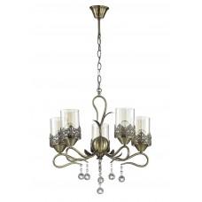 Подвесная люстра Lumion 3097/5 бронзовый/стекло/метал.декор/хрусталь E14 5*40W 220V MIRELA