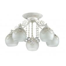 Потолочная люстра Lumion 3256/5C белый/зол.патина/метал.декор/хрусталь E14 5*60W 220V TINETTA