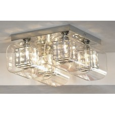 Потолочная люстра Lussole LSC-8007-04 Sorso, 4 плафона, хром, серебро с прозрачным