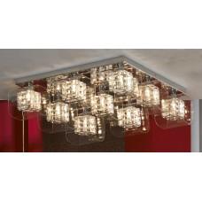 Потолочная люстра Lussole LSC-8007-09 Sorso, 9 плафонов, хром, серебро с прозрачным