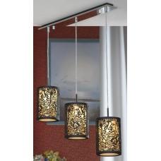 Подвесная люстра Lussole LSF-2376-03 Vetere, 3 плафона, хром с чёрным, коричневый с бежевым