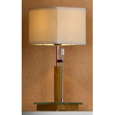 Настольная лампа Lussole LSF-2504-01 Montone, 1 плафон, хром с буком, кремовый