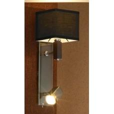 Бра с дополнительной подсветкой Lussole LSF-2571-02 Montone, 2 плафона, хром с вишней, чёрный