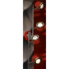 Спот Lussole LSN-3109-04 Tivoli, 4 плафона, хром с красным