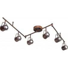 Светодиодный спот Lussole LSP-9136 Loft, 6 плафонов, коричневый с черным