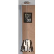 Подвесной светильник Lussole LSX-4186-01 Fenigli, 1 лампа, хром, белый с коричневым
