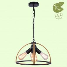 Светильник подвесной лофт Lussole LOFT LSP-8576 (GRLSP-8576) Cornville черный/коричневый E27 60 Вт