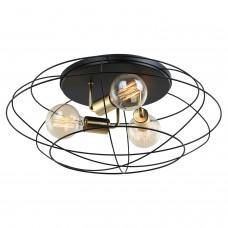 Светильник лофт потолочныйLussole LOFT LSP-8195 (GRLSP-8195) Truman черный/матовое золото E27 60 Вт