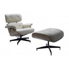 Кресло EAMES LOUNGE CHAIR и оттоманка EAMES LOUNGE CHAIR бежевые