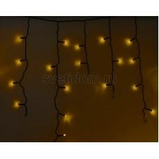 Гирлянда Айсикл (бахрома) светодиодный, 2,4 х 0,6 м, черный провод, 230V, желтый, 88 LED, Neon-Night 255-041