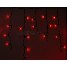 Гирлянда Айсикл (бахрома) светодиодный, 2,4 х 0,6 м, черный провод, 230V, красный, 88 LED, Neon-Night 255-042
