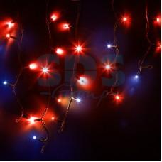 Гирлянда Айсикл (бахрома) светодиодный, 4,0 х 0,6 м, с эффектом мерцания, черный провод, 230V, красный, 128 LED, Neon-Night 255-232