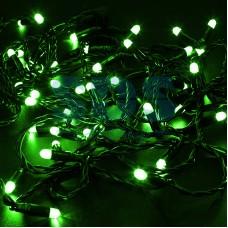 Гирлянда Нить 10м, с эффектом мерцания, черный провод, 24V, зеленый, Neon-Night 305-244