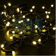 Гирлянда Нить 10м, эффект мерцания (каждый 5-ый), черный провод, 230V, желтый, Neon-Night 305-271