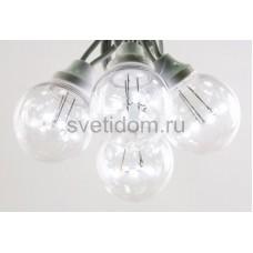 Гирлянда LED Galaxy Bulb String 10м, черный провод, 30 ламп*6 LED белый, влагостойкая IP54, Neon-Night 331-325