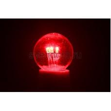 Лампа шар Е27 6 LED d45мм - красный, прозрачная колба, эффект лампы накаливания, Neon-Night 405-122