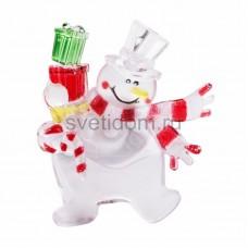 "Фигура светодиодная на присоске ""Снеговик с подарком"", RGB, Neon-Night 501-022"