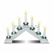 Новогодняя горка 7 свечек, цвет корпуса: Белый, цвет свечения: теплый белый, Neon-Night 501-081