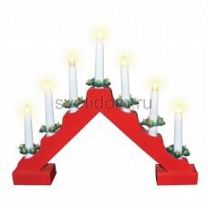 Новогодняя горка 7 свечек, цвет корпуса: Красный, цвет свечения: теплый белый, Neon-Night 501-082