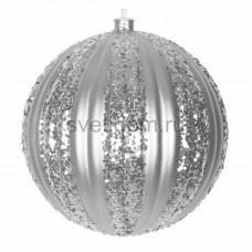 """Елочная фигура """"Полосатый шар"""", 20 см, цвет серебряный, Neon-Night 502-076"""