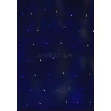 Гирлянда - сеть светодиодная 2,5*2,5м, свечение с динамикой, черный провод, белые/синие диоды Neon-Night 215-032