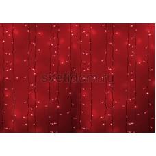 Гирлянда Светодиодный Дождь 2*1,5м, постоянное свечение, белый провод, 220В, диоды красные Neon-Night 235-112