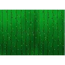 Гирлянда Светодиодный Дождь 2*1,5м, постоянное свечение, темно-зеленый провод, 220В, диоды зеленые Neon-Night 235-124