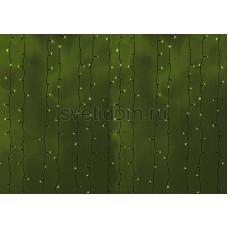 Гирлянда Светодиодный Дождь 2*3м, постоянное свечение, черный провод, 220В, диоды зеленые Neon-Night 235-144
