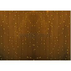 Гирлянда Светодиодный Дождь 2*3м, постоянное свечение, прозрачный провод, 220В, диоды желтые Neon-Night 235-151