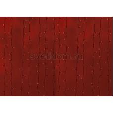 Гирлянда Светодиодный Дождь 2*6м, постоянное свечение, черный провод, 220В, диоды красные Neon-Night 235-162