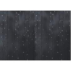 Гирлянда Светодиодный Дождь 2*6м, постоянное свечение, черный провод, 220В, диоды белые Neon-Night 235-165