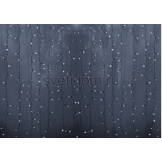 Гирлянда Светодиодный Дождь 2*6м, постоянное свечение, прозрачный провод, 220В, диоды белые Neon-Night 235-175