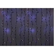 Гирлянда Светодиодный Дождь 2*1,5м, эффект мерцания, черный провод, 220В, диоды синие Neon-Night 235-233