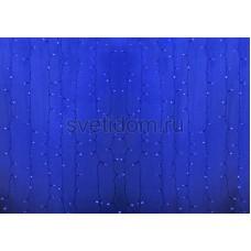 Гирлянда Светодиодный Дождь 2*1,5м, пстоянное свечение, прозрачный провод, 220В, диоды синие Neon-Night 235-303