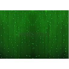 Гирлянда Светодиодный Дождь 2*1,5м, постоянное свечение, прозрачный провод, 220В, диоды зеленые Neon-Night 235-304