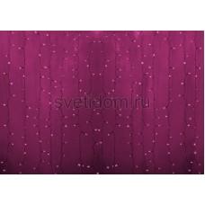 Гирлянда Светодиодный Дождь 2*1,5м, постоянное свечение, прозрачный провод, 220В, диоды розовые Neon-Night 235-307