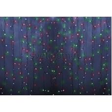 Гирлянда Светодиодный Дождь 2*1,5м, постоянное свечение, прозрачный провод, 220В, диоды мульти Neon-Night 235-309-6