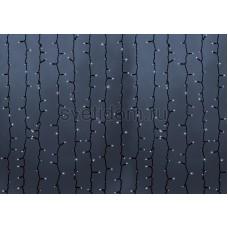 Гирлянда Светодиодный Дождь 2*6м, постоянное свечение, черный провод каучук, 220В, диоды белые Neon-Night 237-165