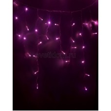 Гирлянда Айсикл (бахрома) светодиодный, 2,4*0,6 м, прозрачный провод, 220В, диоды розовые Neon-Night 255-039